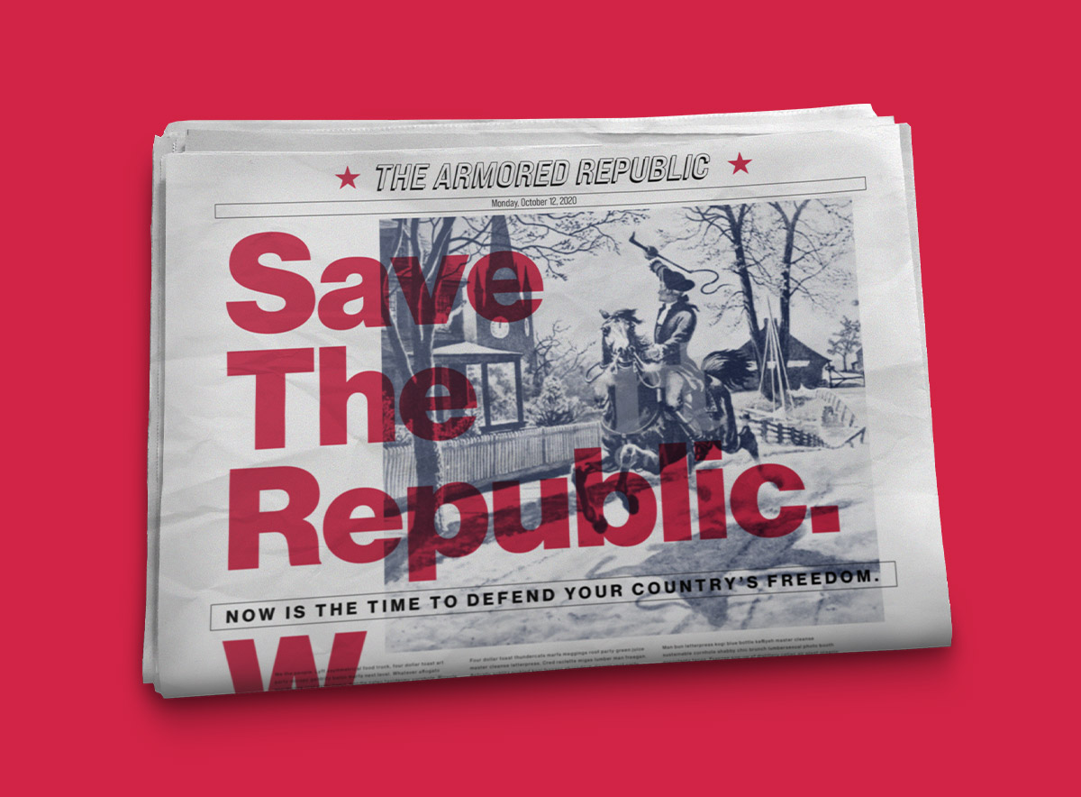 "Image of folded newspaper with Paul Revere riding, shouting ""Save the Republic"""