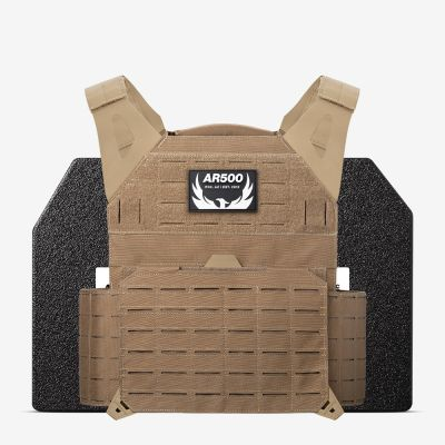 The coyote AR Invictus plate carrier with 10x12 plates from AR500 Armor of the Armored Republic.