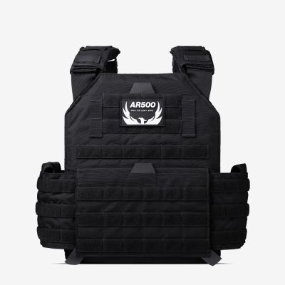 The black Testudo plate carrier from AR500 Armor of the Armored Republic.