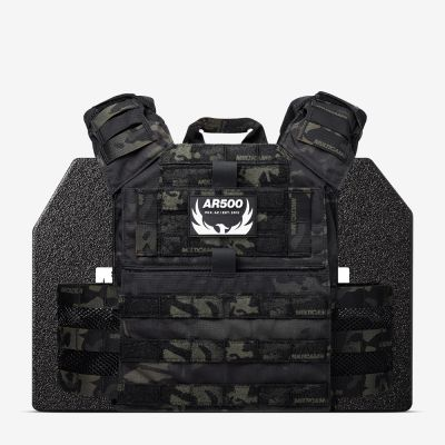 The black multicam Valkyrie with two 10x12 plates from AR500 Armor of the Armored Republic