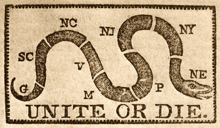"""Image of 8 sectioned snake, each piece representing a colony or group of colonies, with the wording """"Unite or Die"""" underneath the image"""