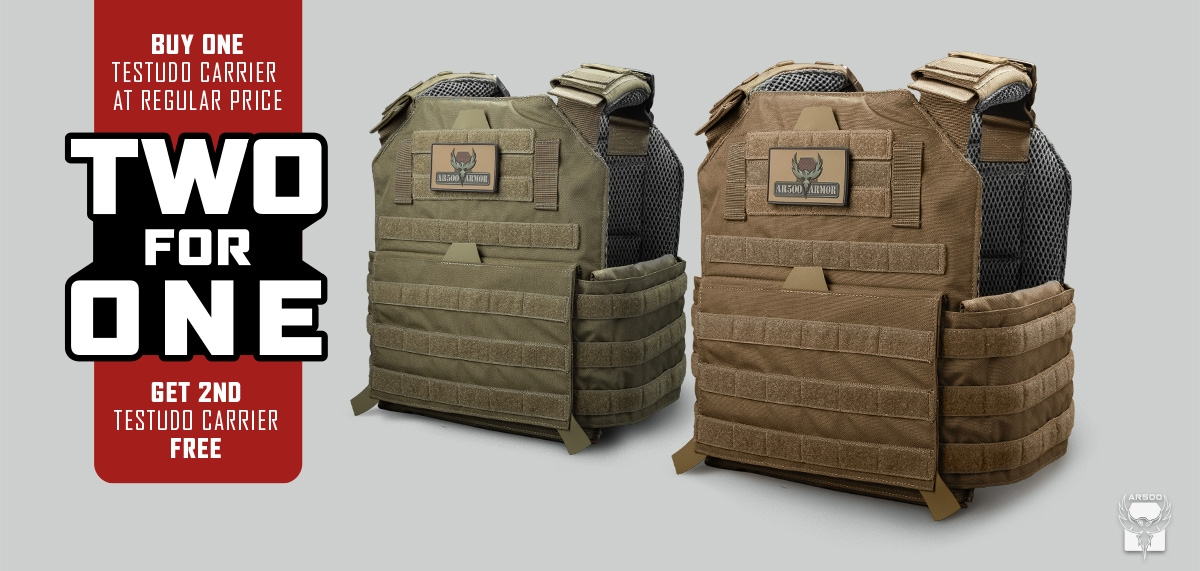 Homepage Header Image of a Two for One Sale on Testudo Plate Carriers
